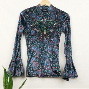 FP We the Free L'Amour velvet embellished top XS
